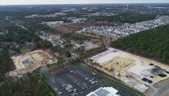 Aerial view of development along Boulevard of the Americas in Lakewood is shown in this view looking south towards Pine Street Thursday, January 3, 2019.