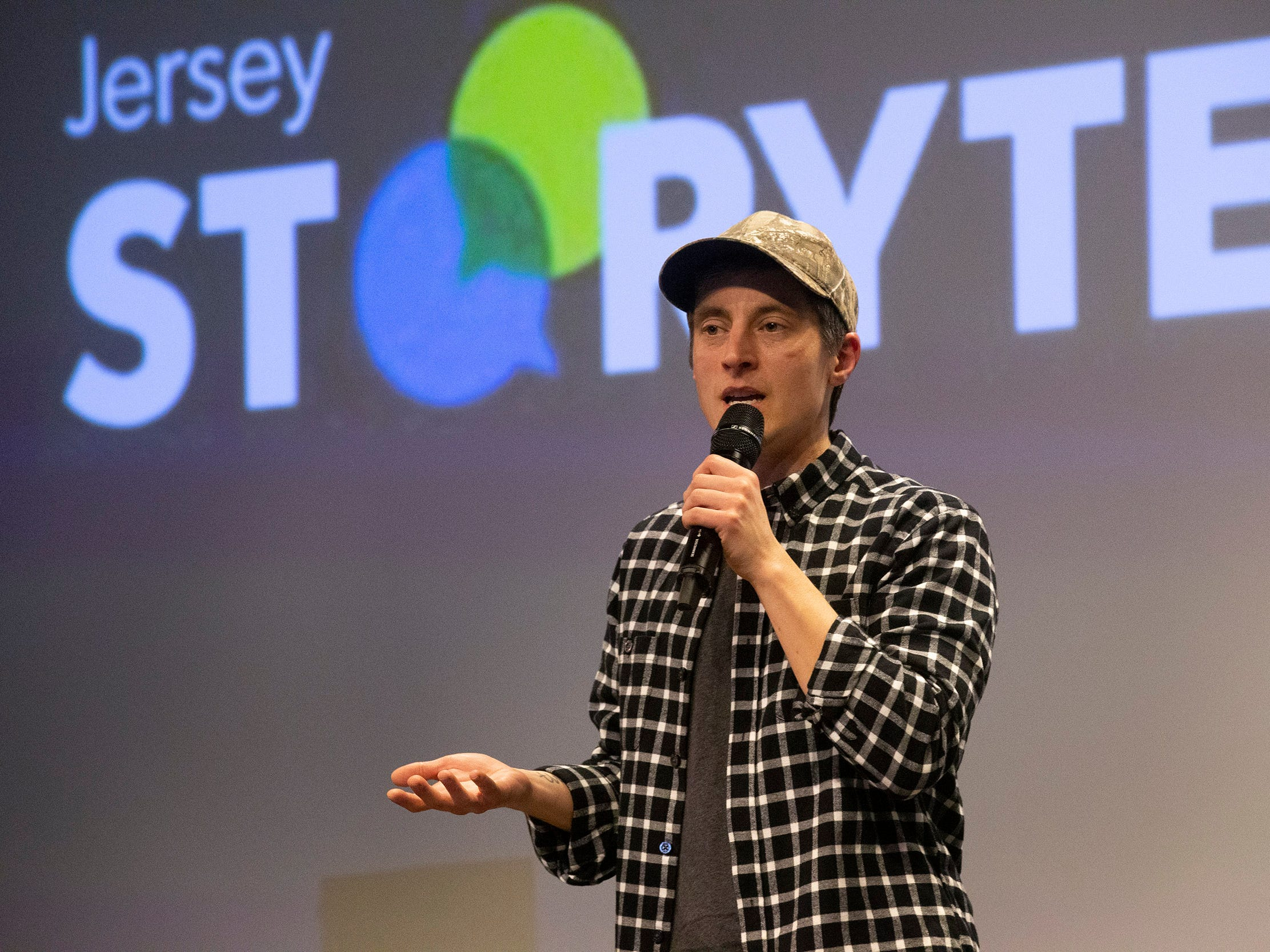 Dillan DiGiovanni tells his story.  Speakers and crowds alike enjoy the latest version of Storytellers in Asbury Park on February 27, 2019, this night's subject was starting over.