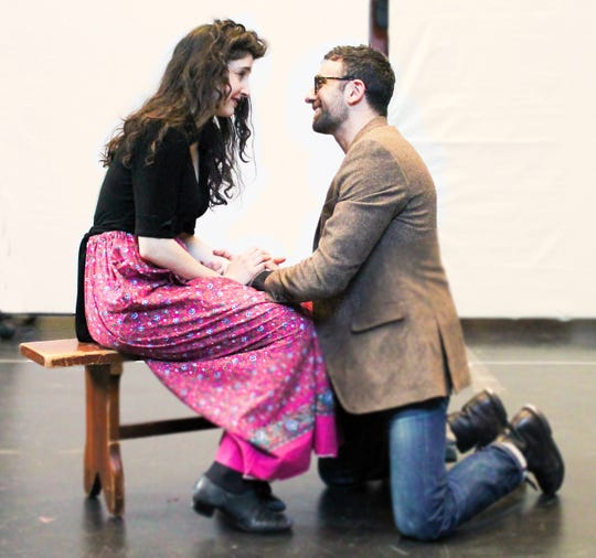 """Lauriel Friedman and Benjamin Pelteson in rehearsal for Mark Harelik's """"The Immigrant"""" at George Street Playhouse, March 12 thru April 7."""