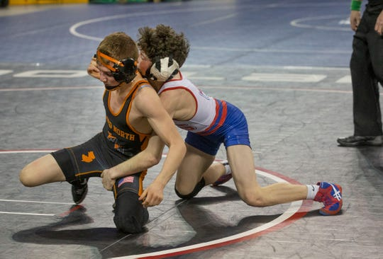 Middletown North's Tyler Klinsky vs Washington Township's Ethan Wilson in their 106 lbs. bout. NJSIAA State Wrestling opening rounds in Atlantic City, Thursday February 28, 2019