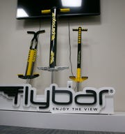 Some of the Flybar pogo sticks ar shown at the company's Howell Township office Wednesday, February 27, 2019.   Flybar is the original pogo stick company and has moved its operations to the township.