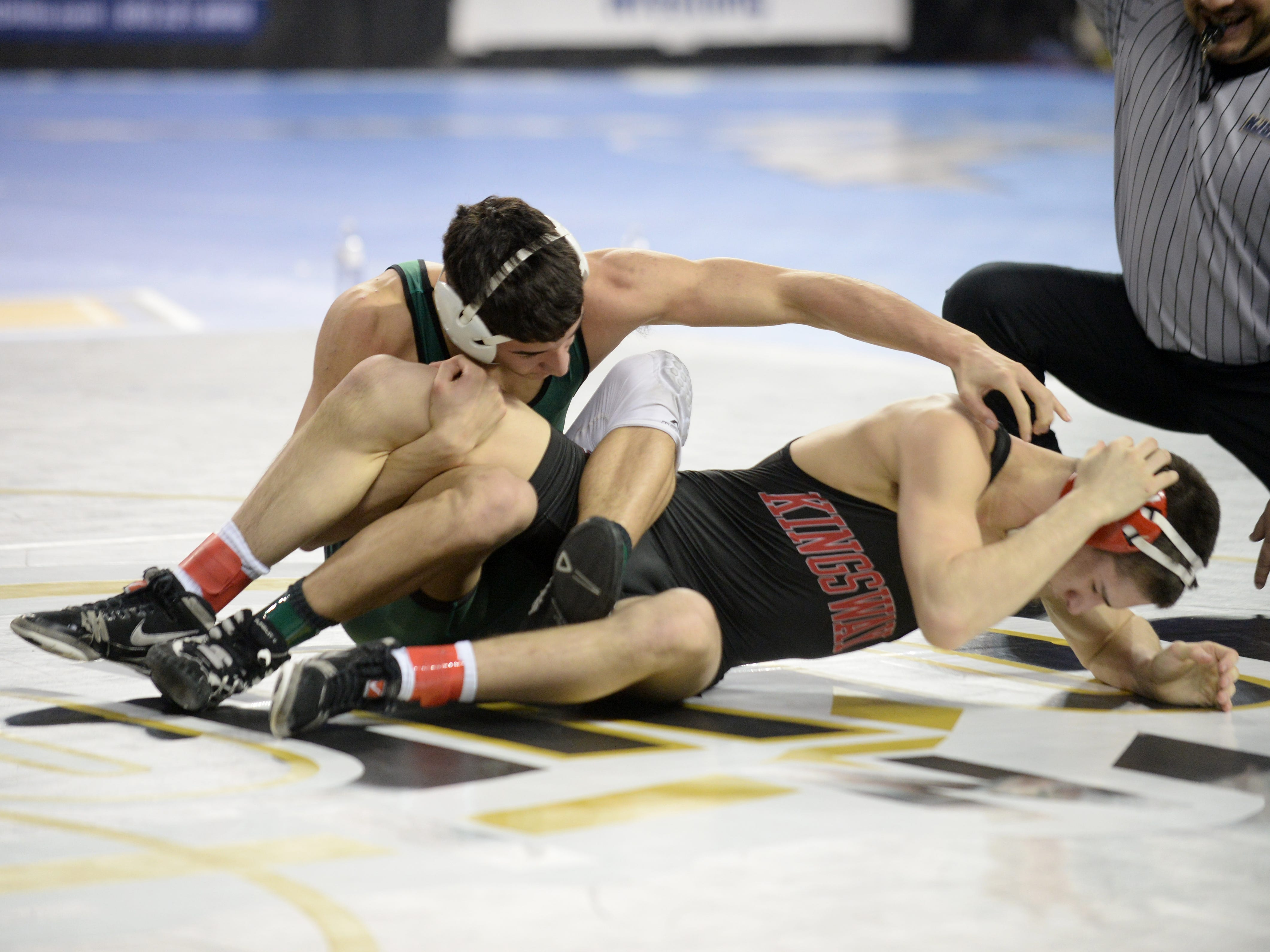 South Plainfield's Tommy Fierro wrestles Kingsway's Finnegan McFadden in a 132-pound first round bout during the NJSIAA Individual Wrestling Championships at Boardwalk Hall in Atlantic City, Thursday, Feb. 28, 2019.