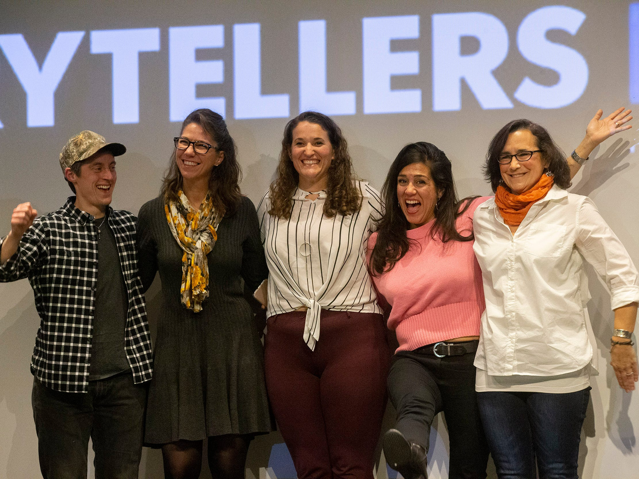 Speakers ham it up as the show draws to to close - l to r -Dillan DiGiovanni, Michelle A Mulkerin, Susanne Cervenka, Cynthia Salinas, and Mona Soliman. Speakers and crowds alike enjoy the latest version of Storytellers in Asbury Park on February 27, 2019, this night's subject was starting over.