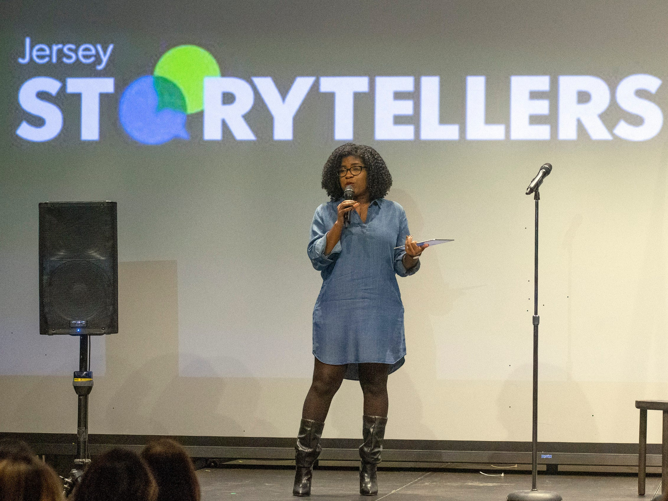Host G.Michelle Lewis addresses the audience. Speakers and crowds alike enjoy the latest version of Storytellers in Asbury Park on February 27, 2019, this night's subject was starting over.