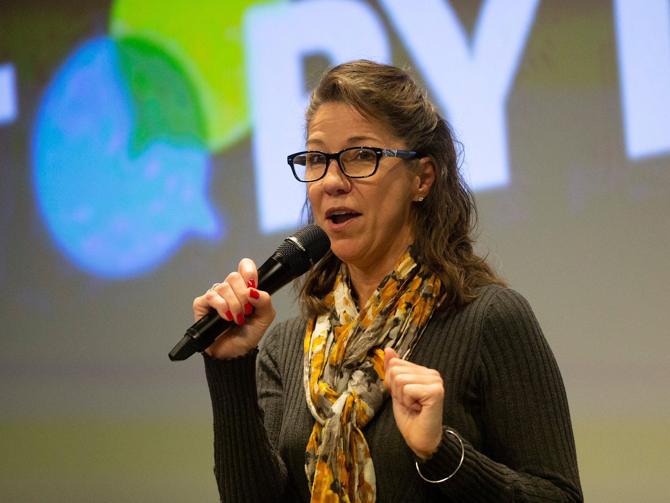 Michelle A Mulkerin tells her story.  Speakers and crowds alike enjoy the latest version of Storytellers in Asbury Park on February 27, 2019, this night's subject was starting over.