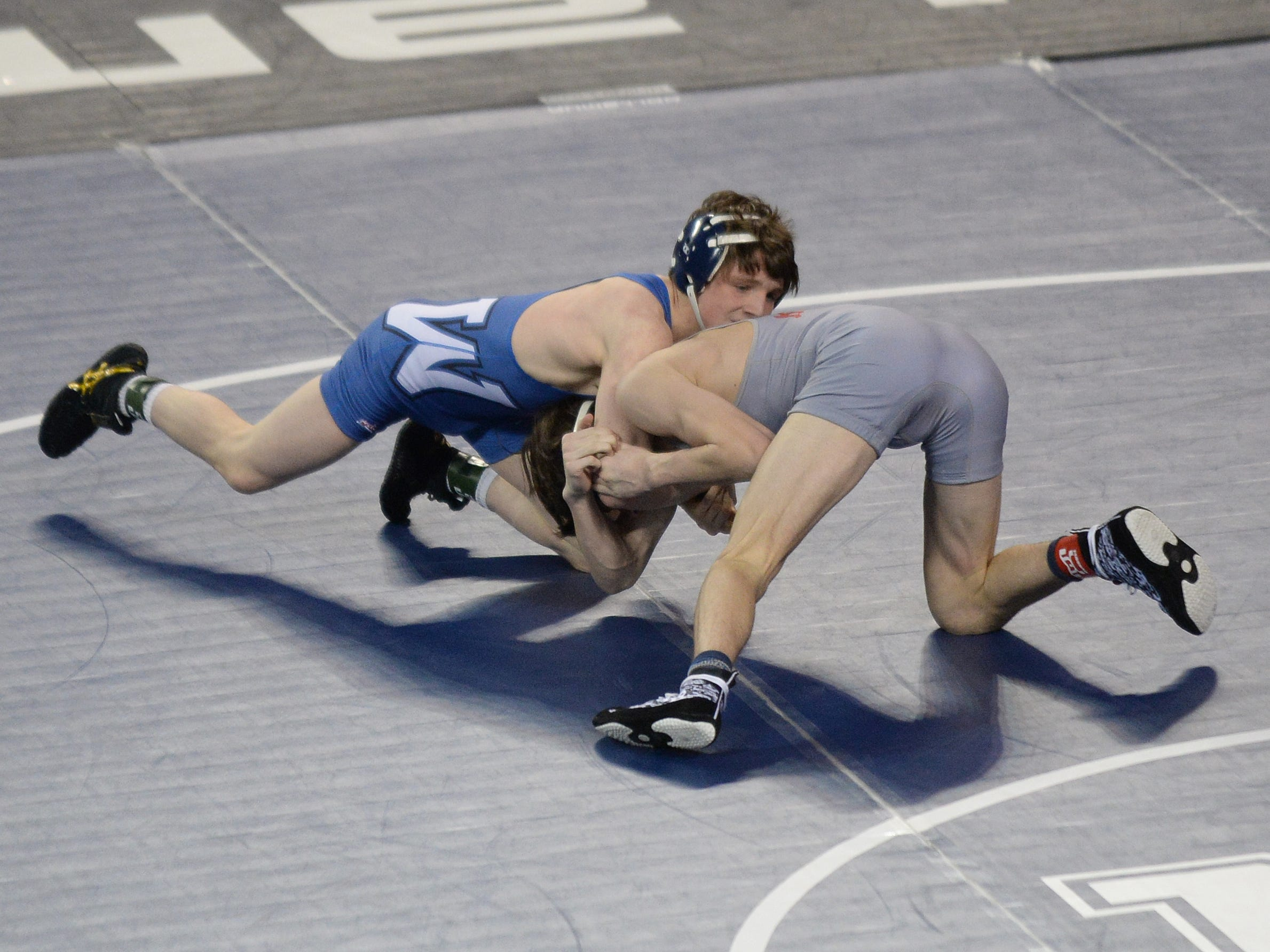 Westfield's CJ Composto wrestles Wall's Jacob Glantzman in a 126-pound first round bout during the NJSIAA Individual Wrestling Championships at Boardwalk Hall in Atlantic City, Thursday, Feb. 28, 2019.