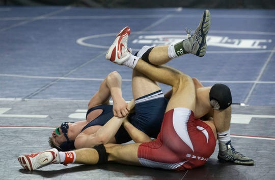 Manalapan's Matt Benedetti defeats Pope John XXIII's Connor Fritsch in their 160 lbs. bout. NJSIAA State Wrestling opening rounds in Atlantic City, Thursday February 28, 2019