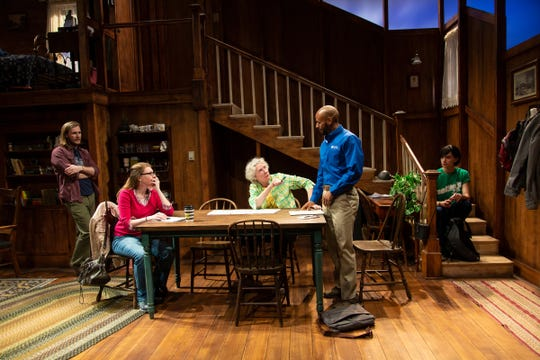"""Zachary Booth (Theo), Andrea Syglowski (Beth), Brenda Wehle (Margaret), Jon-Michael Reese (Abe) and Jesse James Keitel (Maddy) in the world premiere of """"Theo"""" at Two River Theater."""