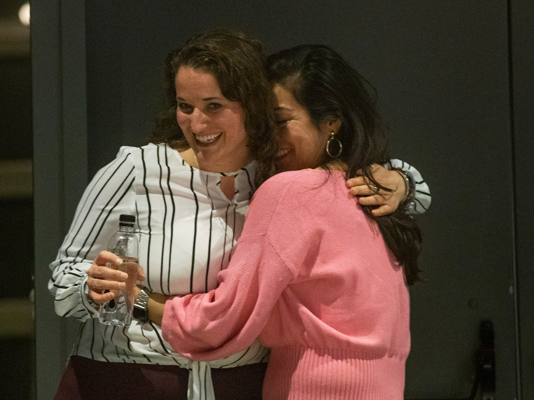 Speakers Susanne Cervenka and Cynthia Salinas share a hug after they both do their stories. Speakers and crowds alike enjoy the latest version of Storytellers in Asbury Park on February 27, 2019, this night's subject was starting over.