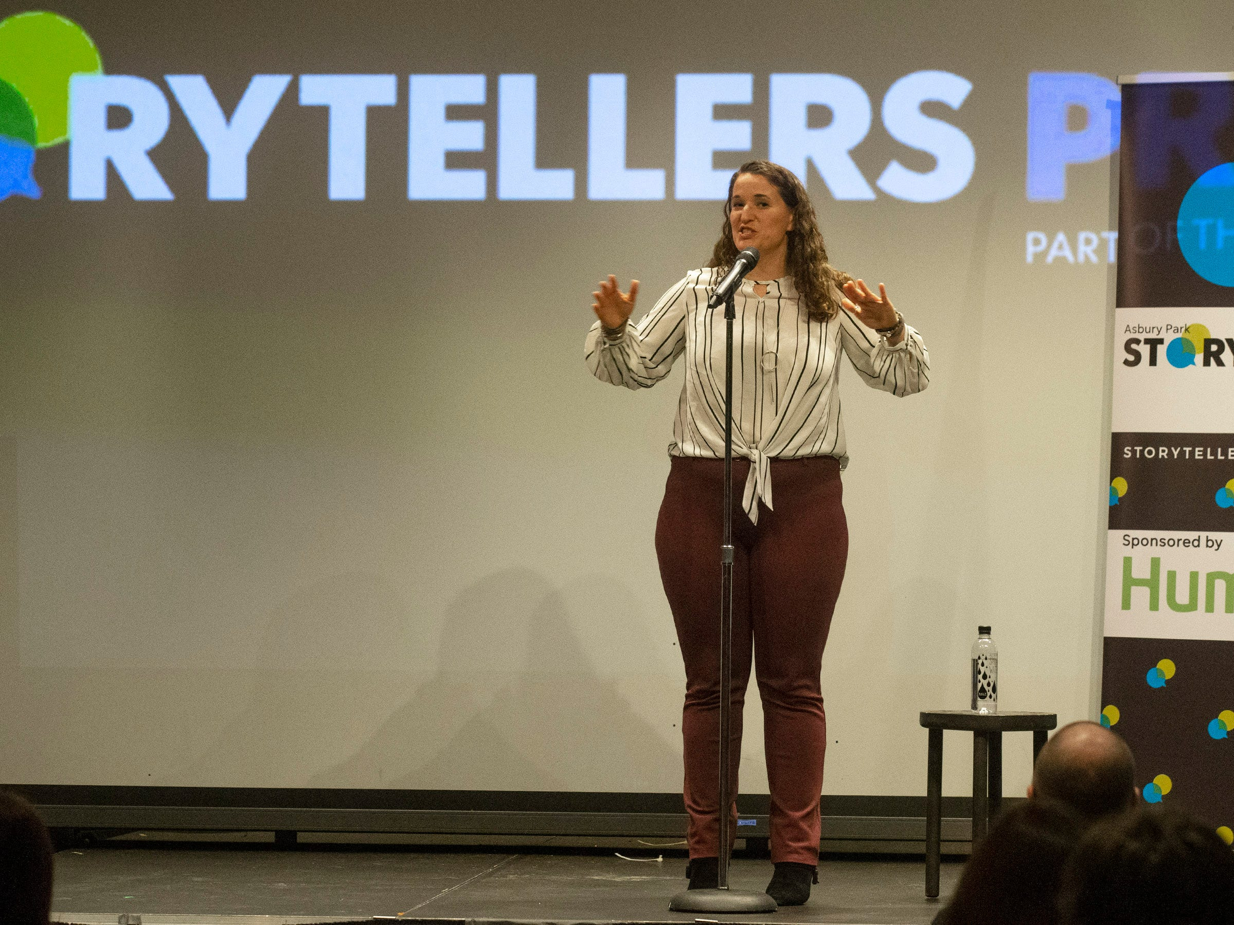 Susanne Cervenka tells her story.  Speakers and crowds alike enjoy the latest version of Storytellers in Asbury Park on February 27, 2019, this night's subject was starting over.