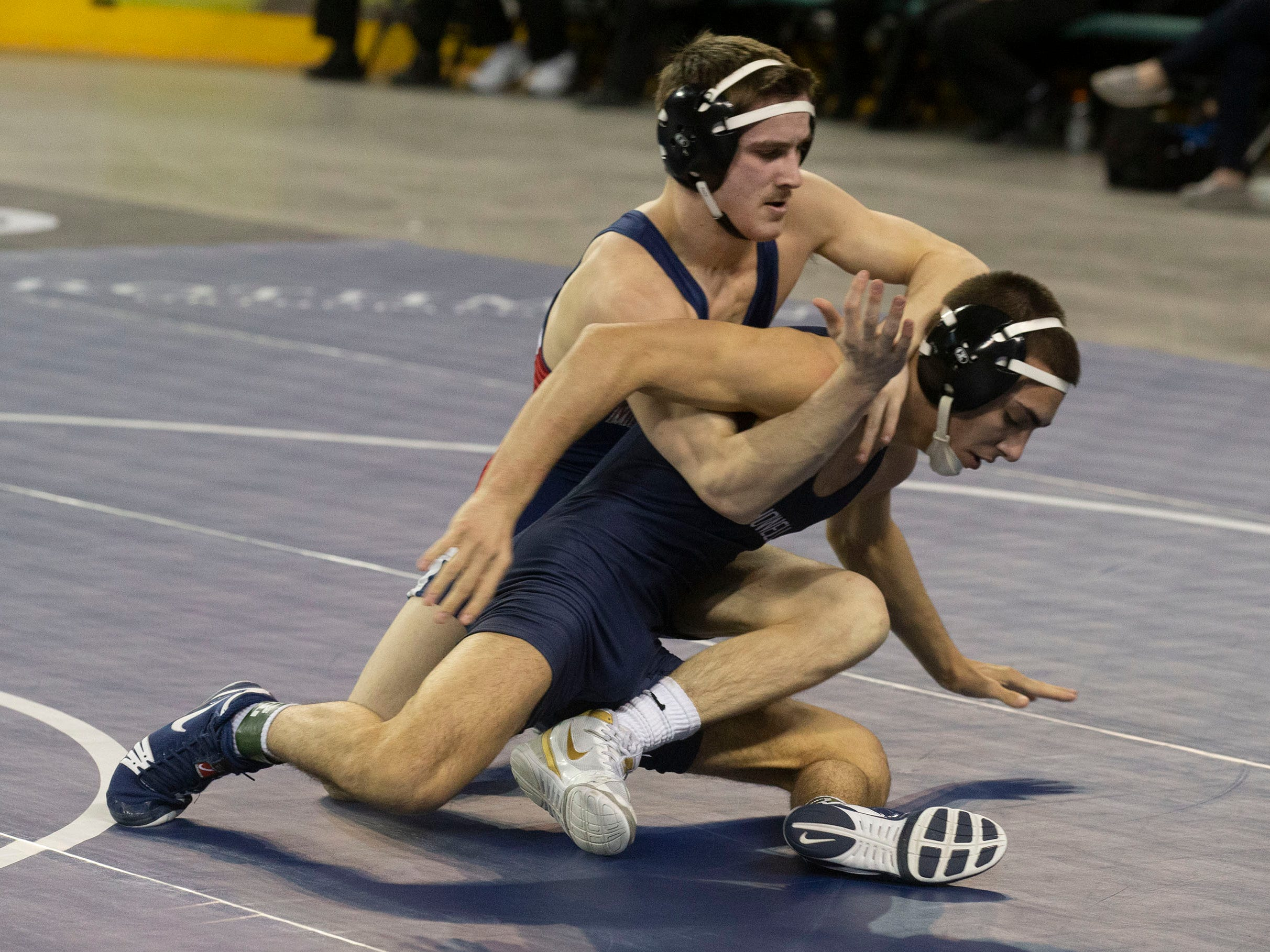 Howell's Neiko Malone vs Mendham's Dom DiGena in their 126 lbs. bout. NJSIAA State Wrestling opening rounds in Atlantic City, Thursday February 28, 2019