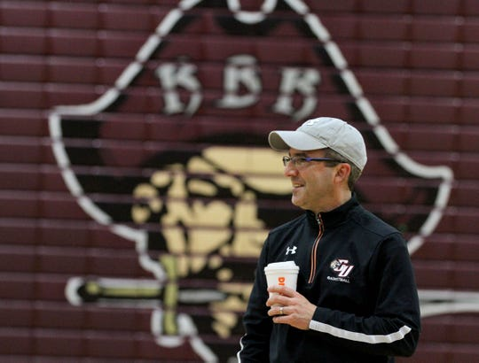 Red Bank Regional girls basketball coach John Truhan is shown during practice Wednesday, February 27, 2019.