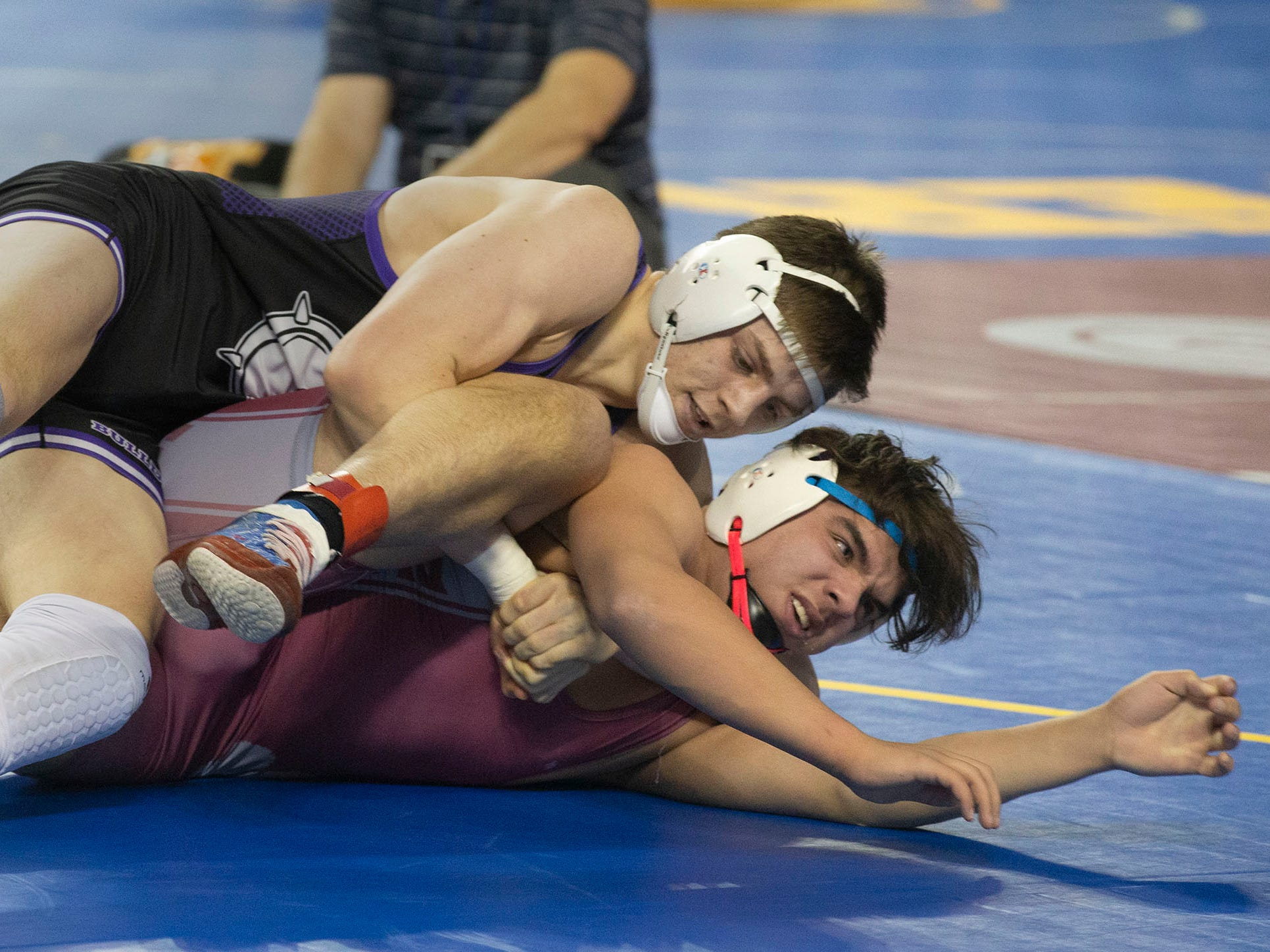 Rumson-Fair Haven's NickAddison pinned Bloomfield's Zach Andruchowitz in their 182 lbs. bout. NJSIAA State Wrestling opening rounds in Atlantic City, Thursday February 28, 2019