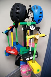 'Pogo Pals' are one of Flybar's products displayed at the company's Howell Township office Wednesday, February 27, 2019.   Flybar is the original pogo stick company and has moved its operations to the township.
