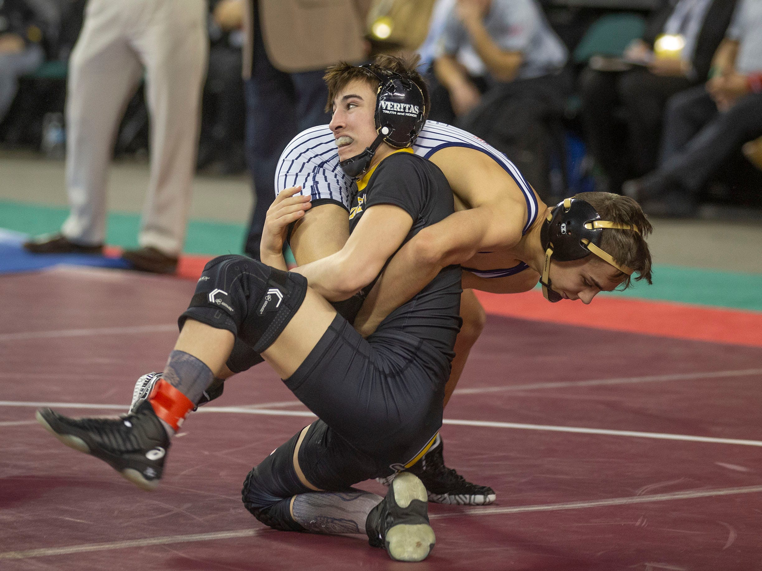 St. John Vianney's Dean Peterson vs. St. Augustine Prep's  D'Amani Almodovar in their 113. lbs. bout.  NJSIAA State Wrestling opening rounds in Atlantic City, Thursday February 28, 2019