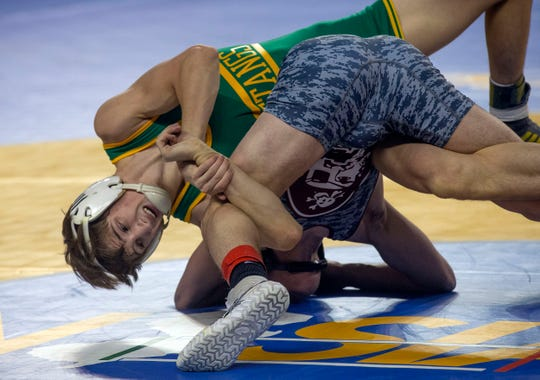 Brick Memorial's Michael Richardson vs St Peter's Prep in 126 lbs. bout. NJSIAA State Wrestling opening rounds in Atlantic City, Thursday February 28, 2019