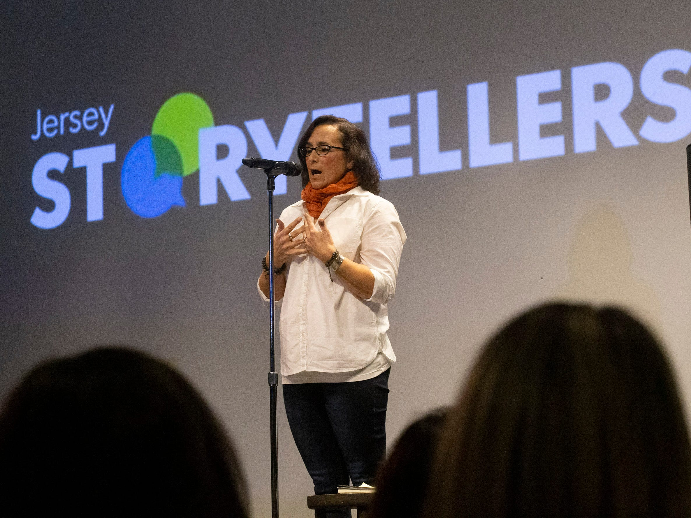 Mona Soliman tells her story. Speakers and crowds alike enjoy the latest version of Storytellers in Asbury Park on February 27, 2019, this night's subject was starting over.