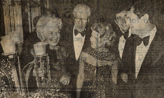 Ruth, center, and Lee Caldwell, far right, at a Cotillion Belles event in November 1979 with the Alvin Littles of Burnet, right. Also pictured, second from right, is Jack Wilkinson, of Midland.