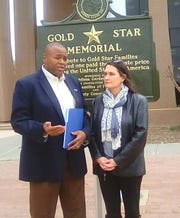 Mayor Anthony Williams speaks at a news conference Thursday at the Taylor county Courthouse to address the success of the end of veterans' homelessness in Abilene.