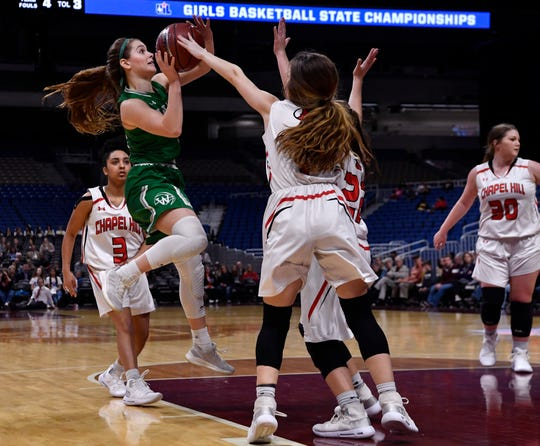 Wall guard Kylie Phillips aims for the basket during Thursday's UIL Class 3A girls state basketball semifinal against Mount Pleasant Chapel Hill, held at the Alamodome in San Antonio Feb. 28, 2019.