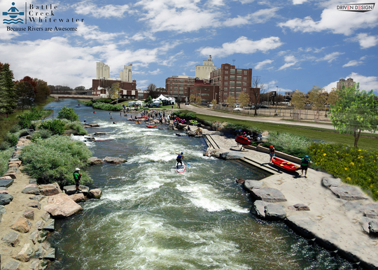 Battle Creek Whitewater wants to see the Kalamazoo River's concrete channel removed and replaced by a more natural-looking alternative, like the one shown in this rendering.