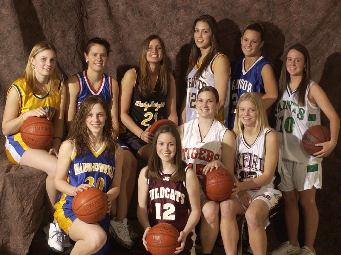 2005 Girls All-Metro team. Front, left to right, Tara Carney of Maine-Endwell, Colleen Clarke of Johnson City, Cara Johnson of Union-Endicott, and Sara Chrystie of Oxford. In Back, left to right, are Jarrin Hayen of Oneonta, Kyle Dougherty of Owego Free Academy, Marissa Gaeta of Windsor, Lindsay Kimmel of Harpursville, Megan Shay of Candor, and Deirdre Torto of Seton Catholic Central.