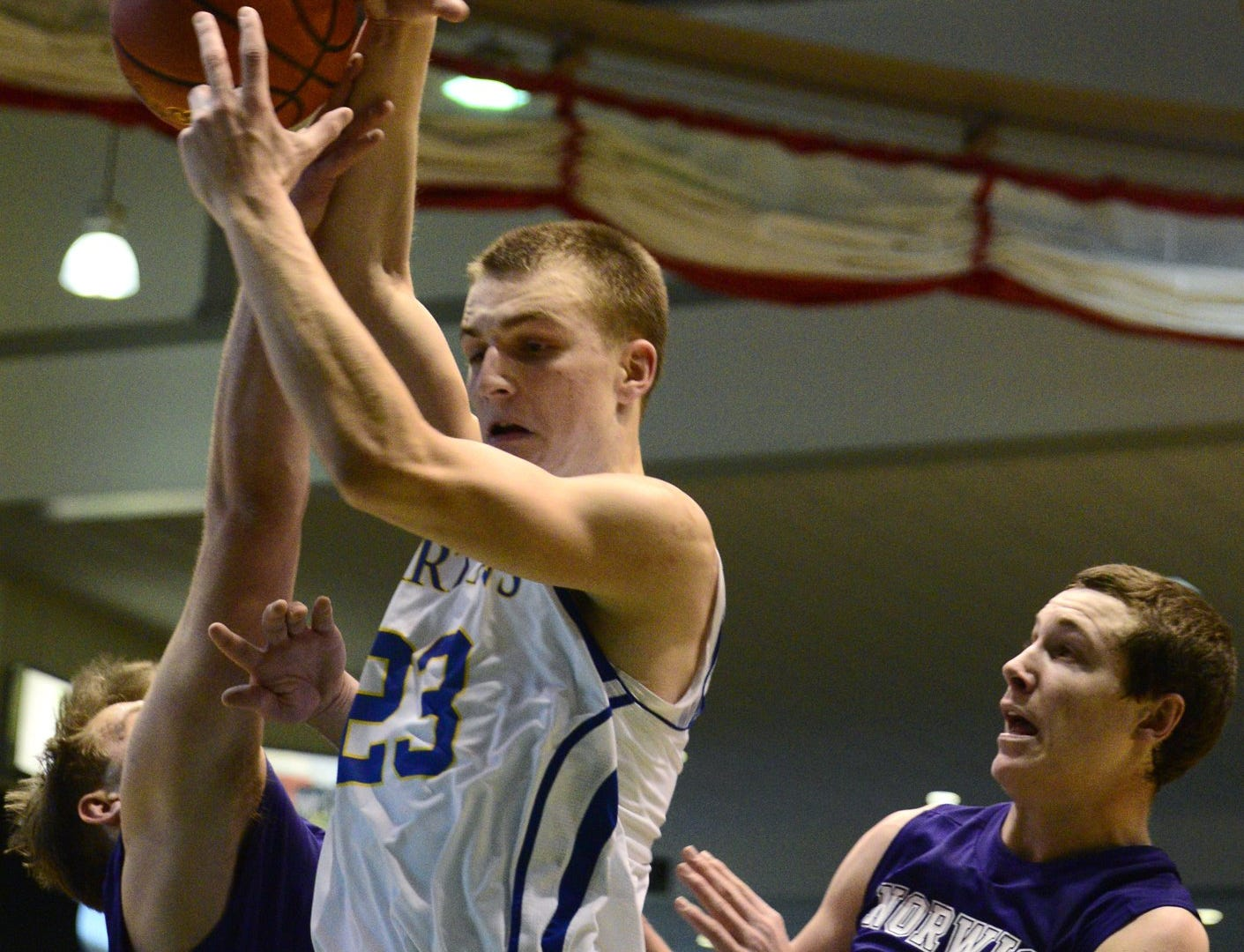 2013: Kyle Gallagher of Maine-Endwell gets a rebound during Sunday's STAC boys title game against Norwich. Gallagher finished with 23 points as the Spartans won 51-46 at Binghamton University's Events Center.