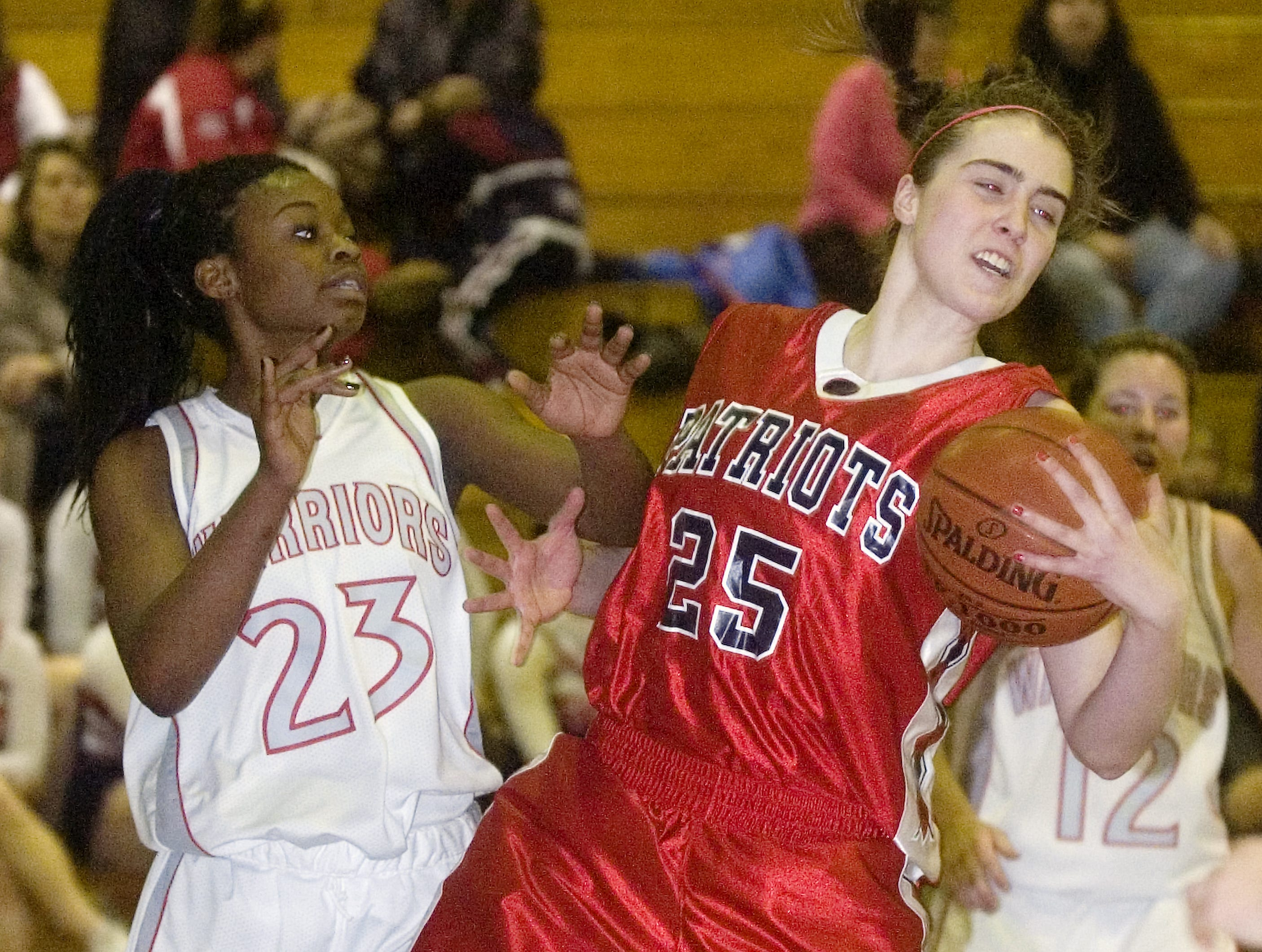 2010: Binghamton's Madison Ward, right, beats out Chenango Valley's Khaylah Moss to the rebound in the third quarter of Tuesday's game at Johnson City High School.