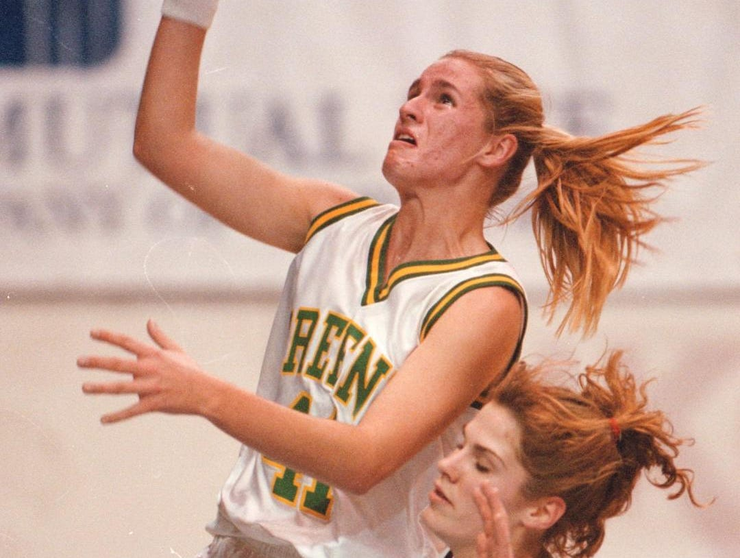 1997: Greene's Alicia Campbell goes up for a layup around Johnson City Rosey Moleski during the John McCarthy memorial at the Broome County Veterans Memorial Arena in Binghamton.