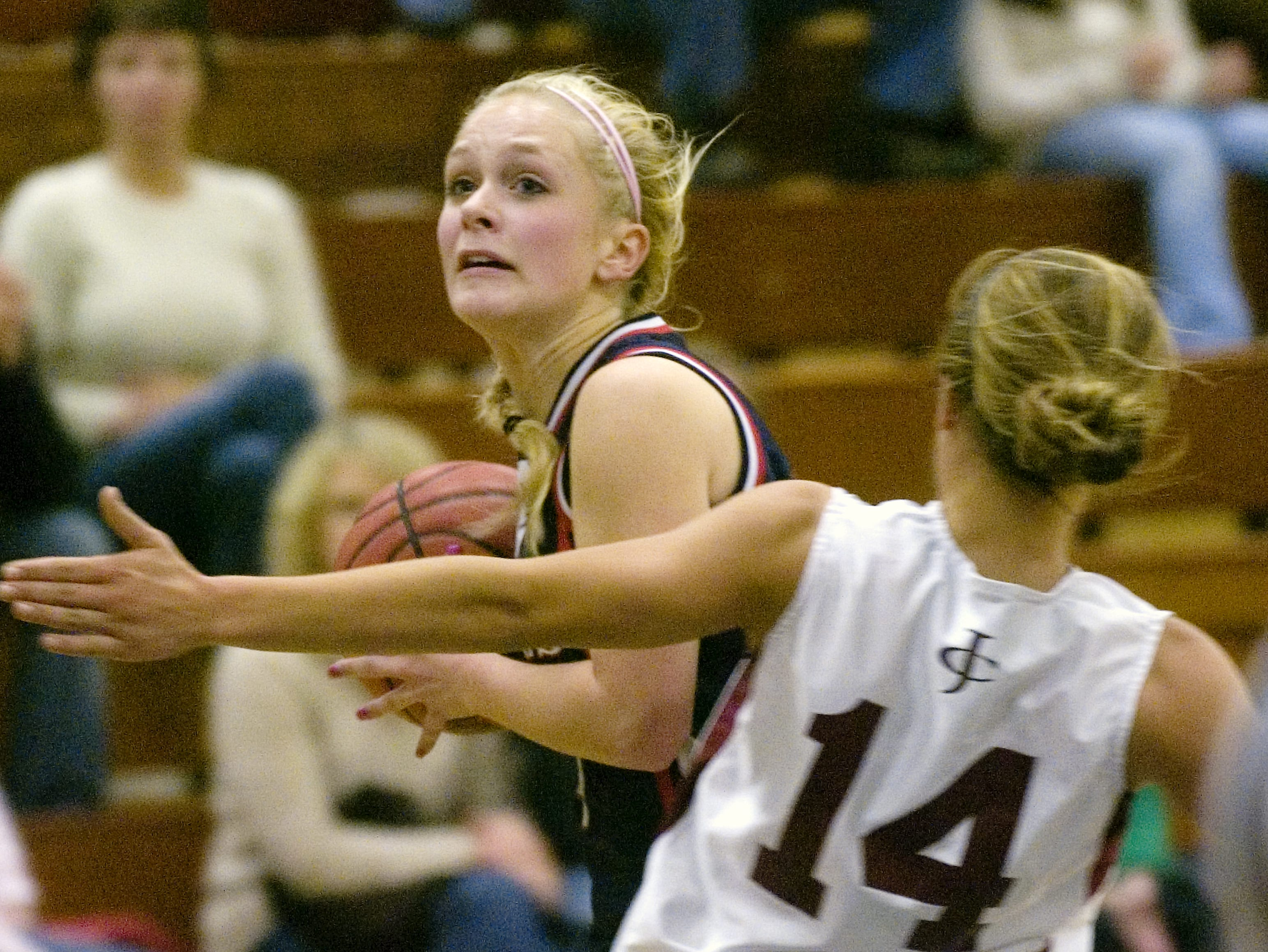 2008: Chenango Forks' Haley VanTassel, left, and Johnson City's Stacey Fox in the second quarter of Saturday's Tip-Off Tournament consolation game at Chenango Forks.