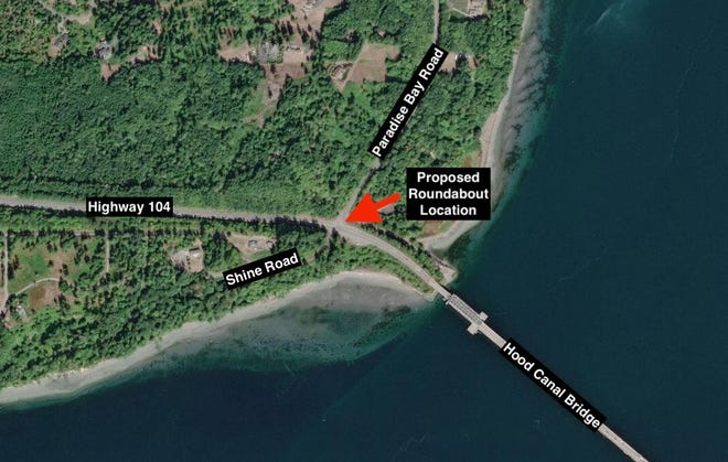 State officials are proposing a roundabout just off the west end of the Hood Canal Bridge on Highway 104.