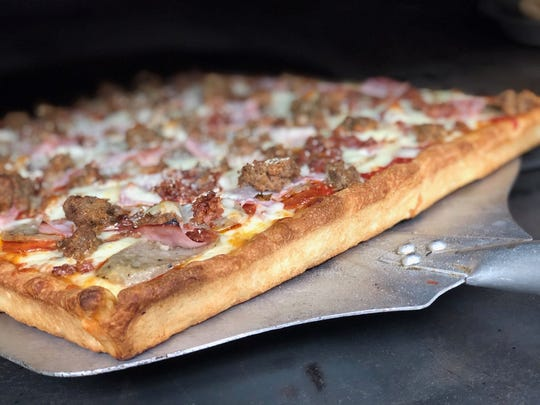 This is the Sicilian Meat Pizza at Pozzy Bros. Pizza in Cocoa.