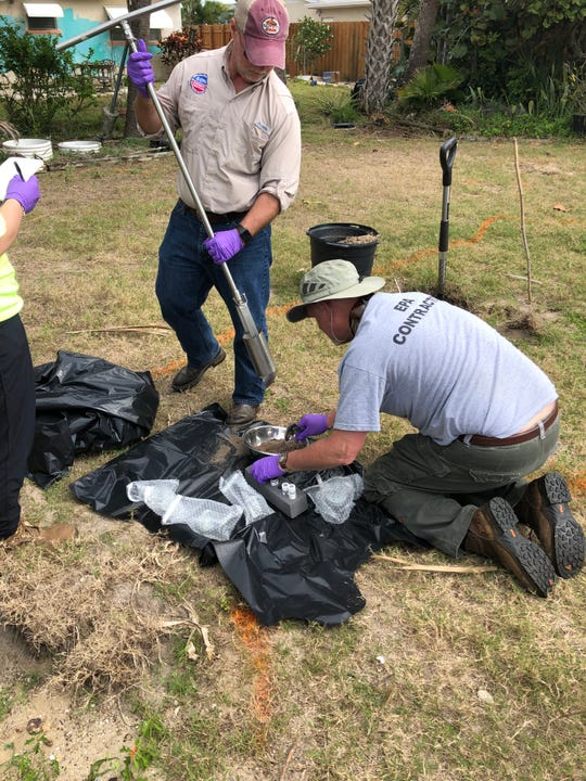 EPA and its contractors dug up soil samples this week to test for chemicals and metals in the yard of Sandra Sullivan, in South Patrick Shores, where residents near Patrick Air Force Base fear health risks from military waste buried in the area years ago.