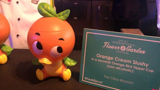 The Orange Cream Slushy at the Citrus Blossom kitchen comes in a souvenir Orange Bird Sipper Cup.