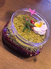 The Chocolate Pudding Terrarium at the Trowel & Trellis kitchen is vegetarian and gluten-free, and almost too pretty to eat.