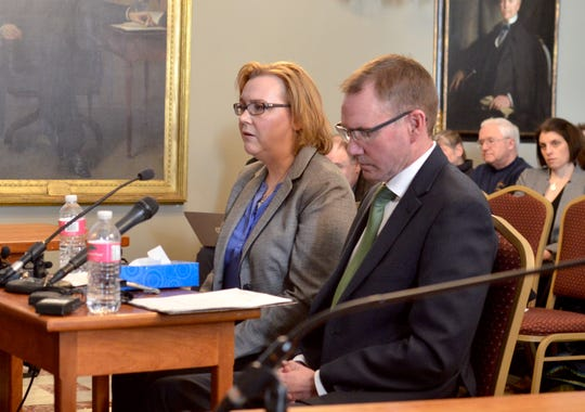 Alyssa and Rob Black, of Essex, speak to the Senate Judiciary Committee in support of a 48-hour waiting period for gun purchases on Feb. 28, 2019 in Montpelier. Their son, Andrew Black, died by suicide in December, and the family believes that a waiting period could have saved his life.