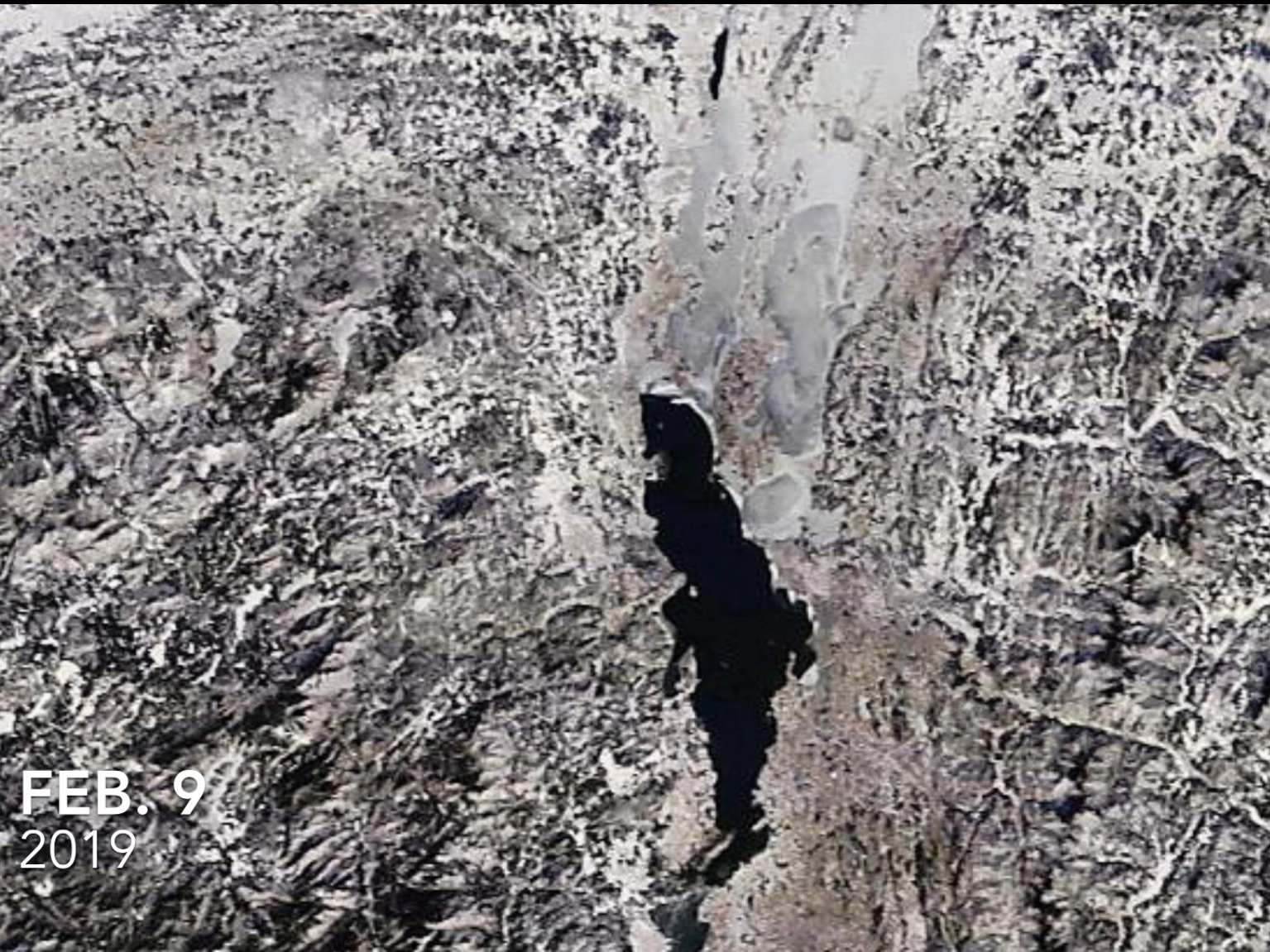Lake Champlain, as photographed by a NASA satellite on Feb. 9, 2019.
