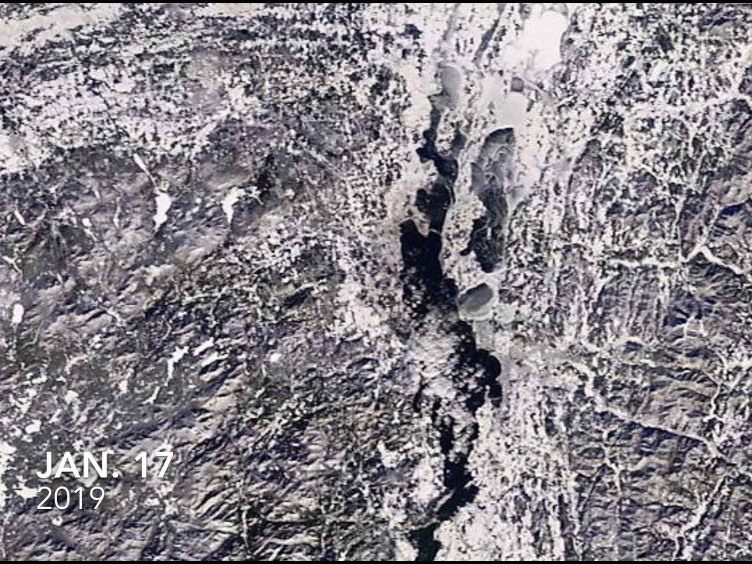 Lake Champlain, as photographed by a NASA satellite on Jan. 17, 2019.