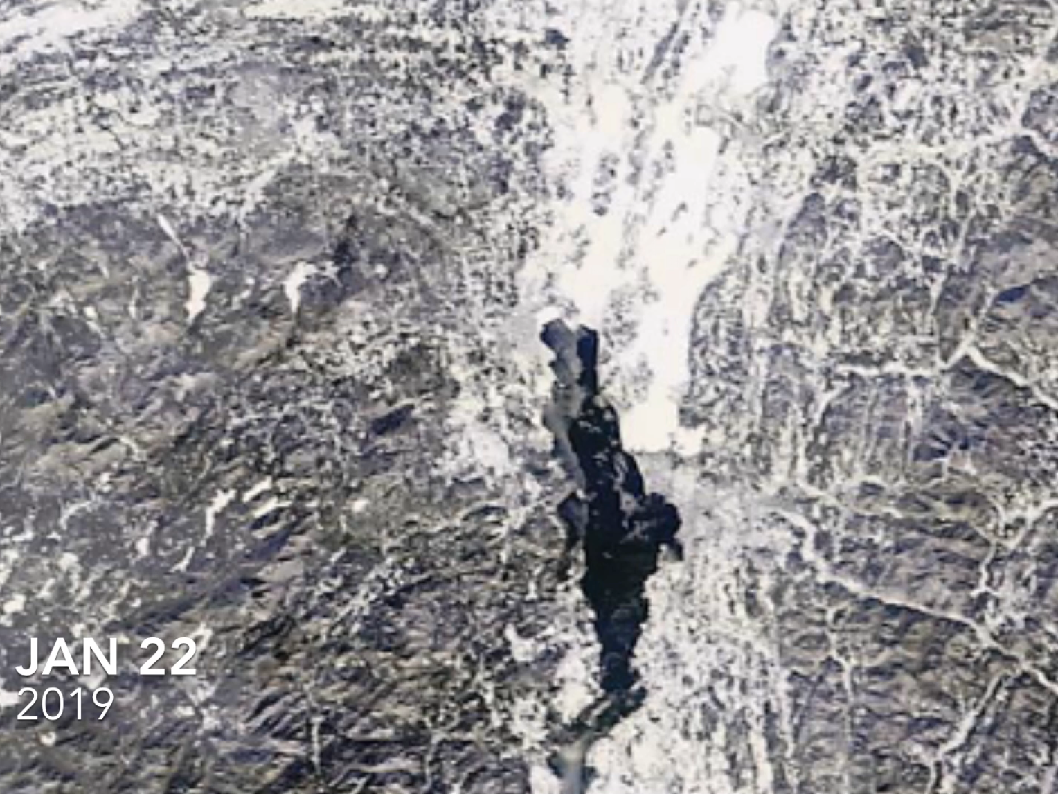Lake Champlain, as photographed by a NASA satellite on Jan. 22, 2019.