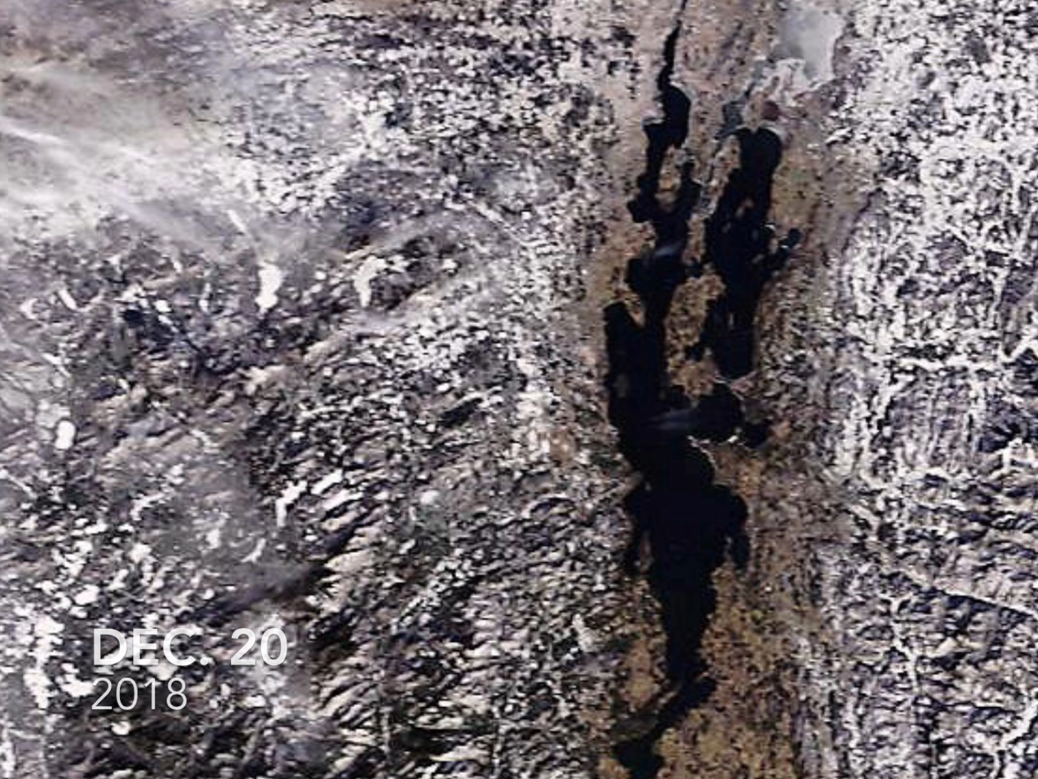 Lake Champlain, as photographed by a NASA satellite on Dec. 20, 2018.