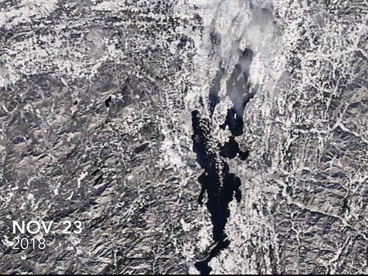 Lake Champlain, as photographed by a NASA satellite on Nov. 23, 2018.