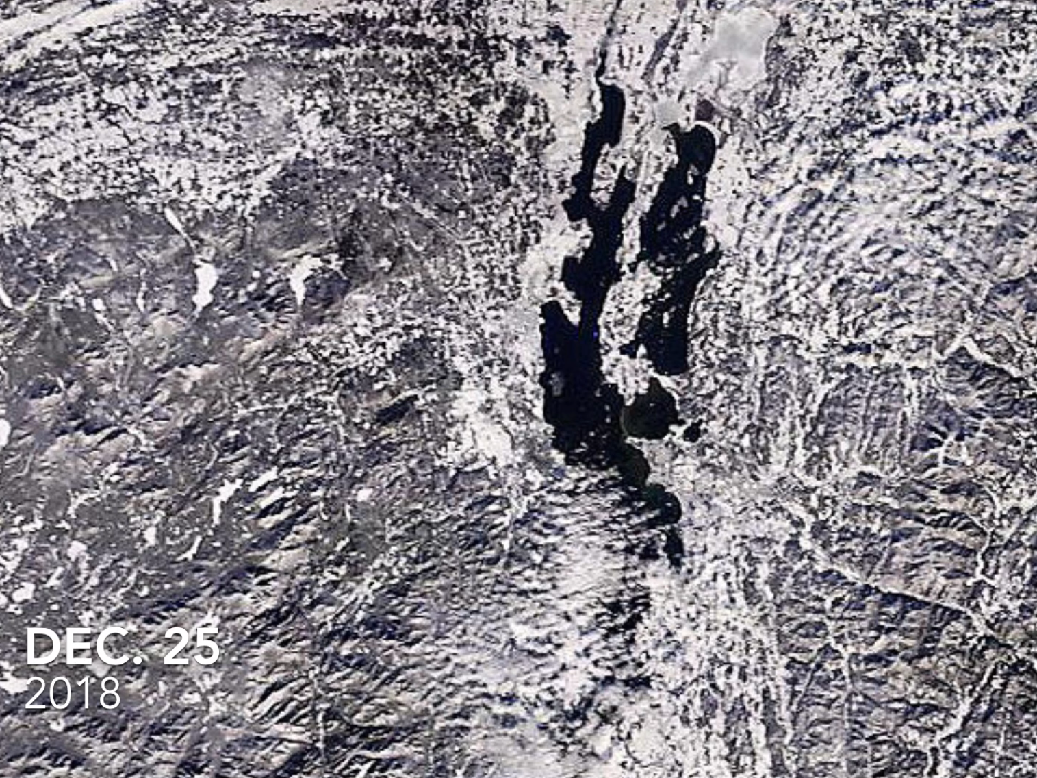 Lake Champlain, as photographed by a NASA satellite on Dec. 25, 2018.