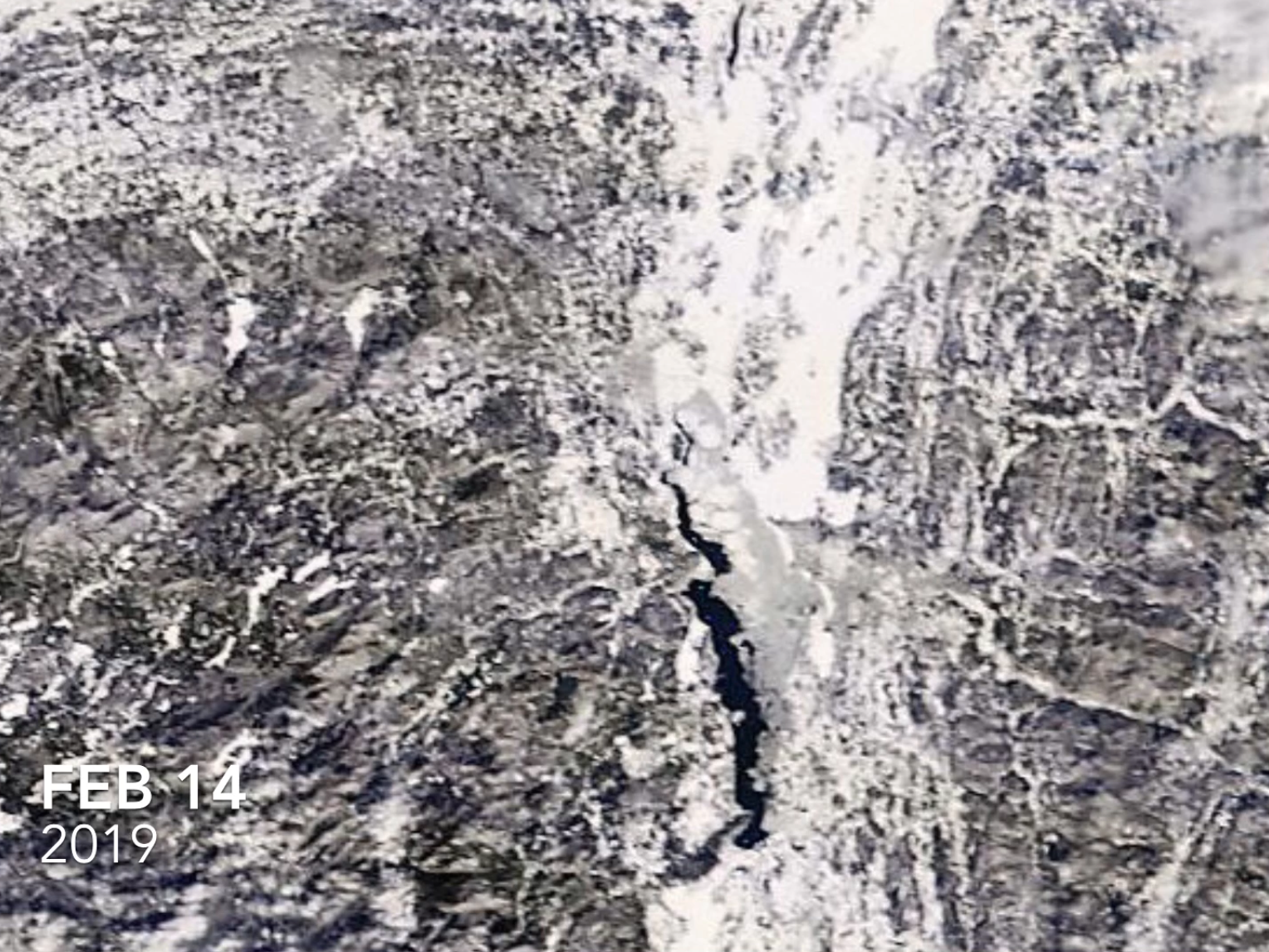 Lake Champlain, as photographed by a NASA satellite on Feb 14, 2019.