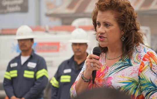 Valerie Gray, executive director of the city of Corpus Christi's Public Works Department, speaks during a grand opening ceremony for a portion of Alamada Street, from Ayers Street to Louisiana Avenue, on Feb. 28, 2019.