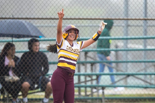 Tuloso-Midway's Ysa Esquivel reacts after scoring the teams only run against King in the Miras' Bayfront Bash softball tournament at King High School on Thursday, February 28, 2019. King won the game 4-1.