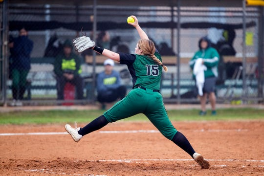 King's Hannah Wamsley pitches in the first inning of the game against Tuloso-Midway in the Miras' Bayfront Bash softball tournament at King High School on Thursday, February 28, 2019. King won the game 4-1.