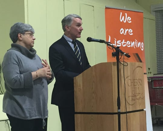New Jersey Transportation Commissioner Diane Gutierrez-Scaccetti and NJ Transit Executive Director Kevin Corbett speak at a public forum in Cherry Hill Wednesday.