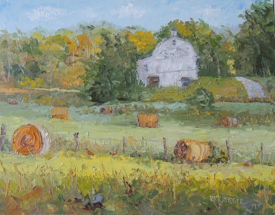 """Robert Kroeger's painting """"Pristine"""" shows a picturesque barn in Muskingum County."""