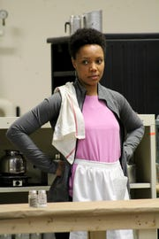 "Malkia Stampley plays Risa in the Playhouse in the Park's production of August Wilson's ""Two Trains Running."" Here, she is seen in rehearsal. The production runs March 7-30 in the Marx Theatre. Preview performances begin March 2."