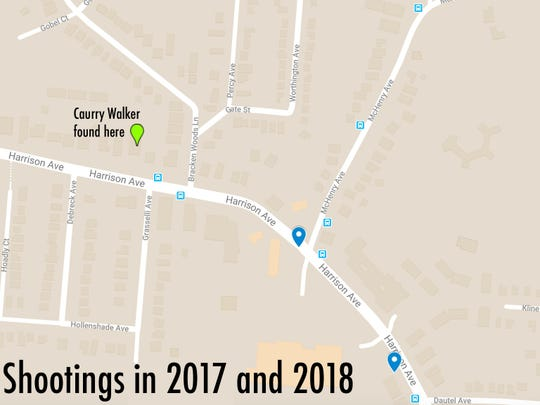 A map showing the locations of all the shootings near Harrison and McHenry avenues in 2017 and 2018.
